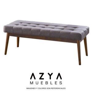 Banqueta Victoria con patas de madera en color cedro natural y asiento tapizado con botones